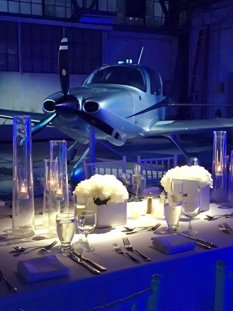 Wedding Reception In An Airplane Hanger At Lunken Airport