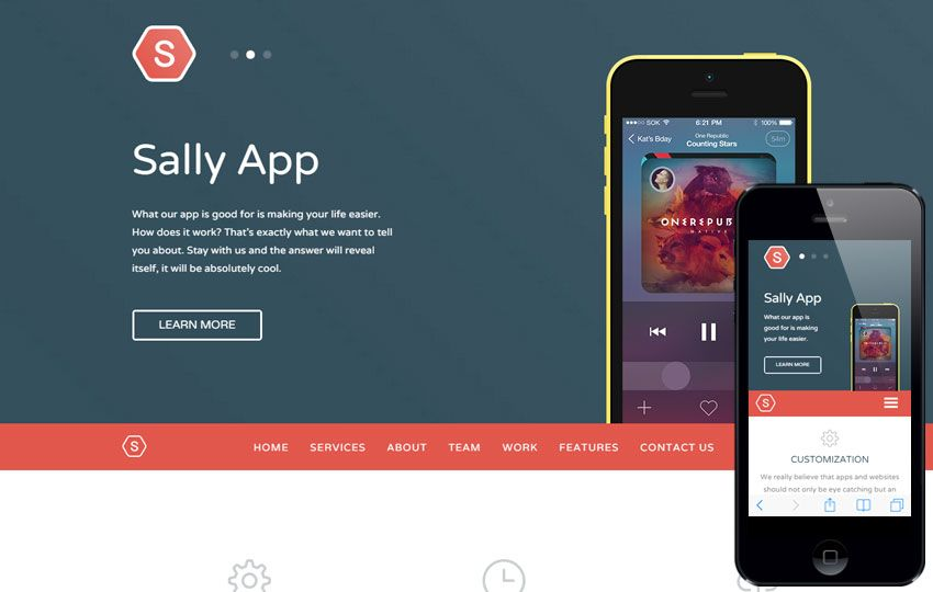 Mobile Website Templates Sally Blocks A #mobile #app #based #flat #bootstrap #responsive