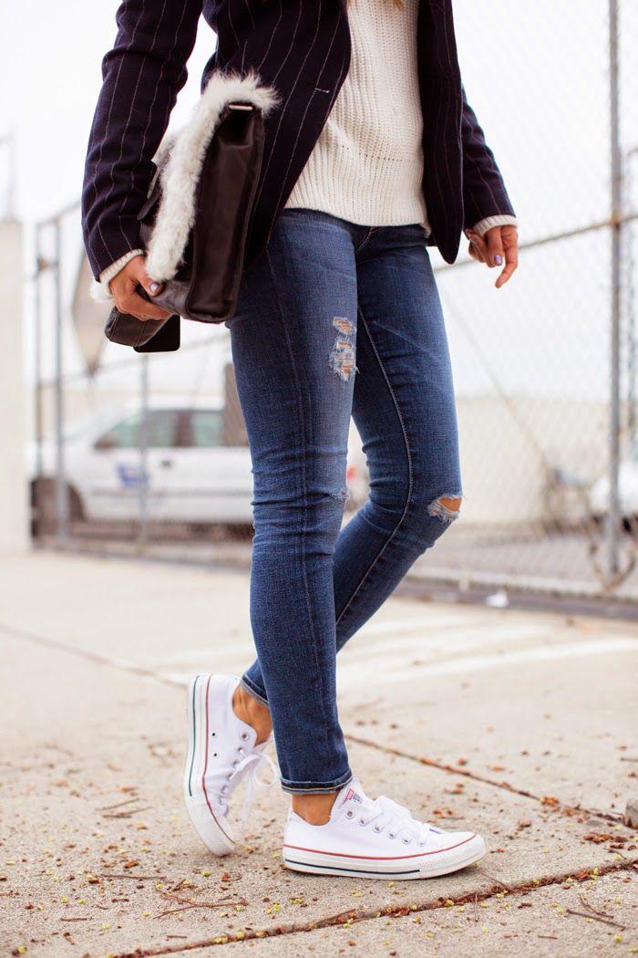 iMyne Fashion: Zappos Appreciation | Song of Style. White converse. Converse  fashion.