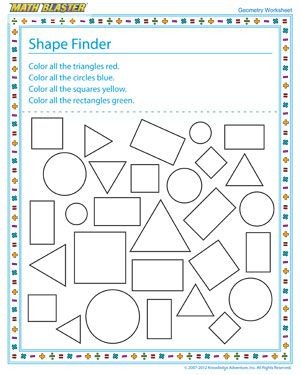 Shape Finder - Free Online Geometry Worksheet for Kids | class ...
