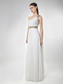 15fc28c4a978 Φόρεμα μακρύ βραδινό αρχαιοελληνικό με έναν ώμο και κέντημα - Όλα ...