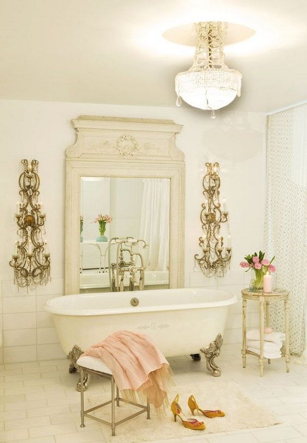 French Shabby Chic Bathroom With Gorgeous Lighting Decorative Wall Sconces Shabby Chic Bathroom Decor Chic Bathroom Decor Shabby Chic Bathroom