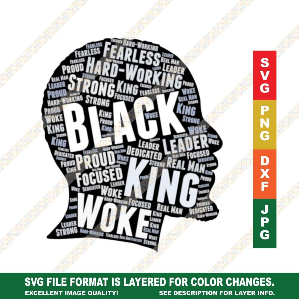 African American Man Black King With Beard Transparent Letters Etsy In 2021 Black Girl Magic Art Beard Silhouette African American Men