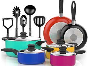 VREMI 15 Piece Non-Stick Color Pop Cookware Set
