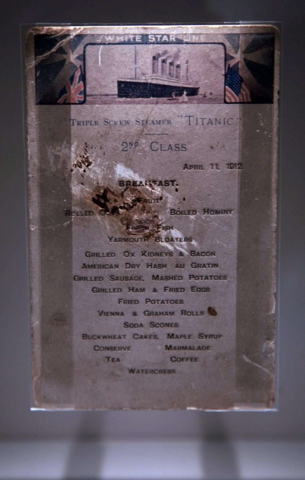 A Titanic Second Class Menu Is Exhibited At The Seacity