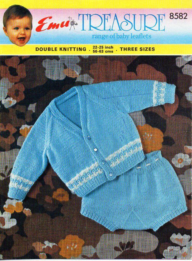 Vintage Baby Cardigan Pants Set Knitting Pattern Pdf Dk