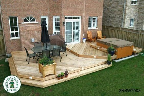 hot tub deck designs | this deck plan is for a large two level spa deck with a planter box ...: #hottubdeck