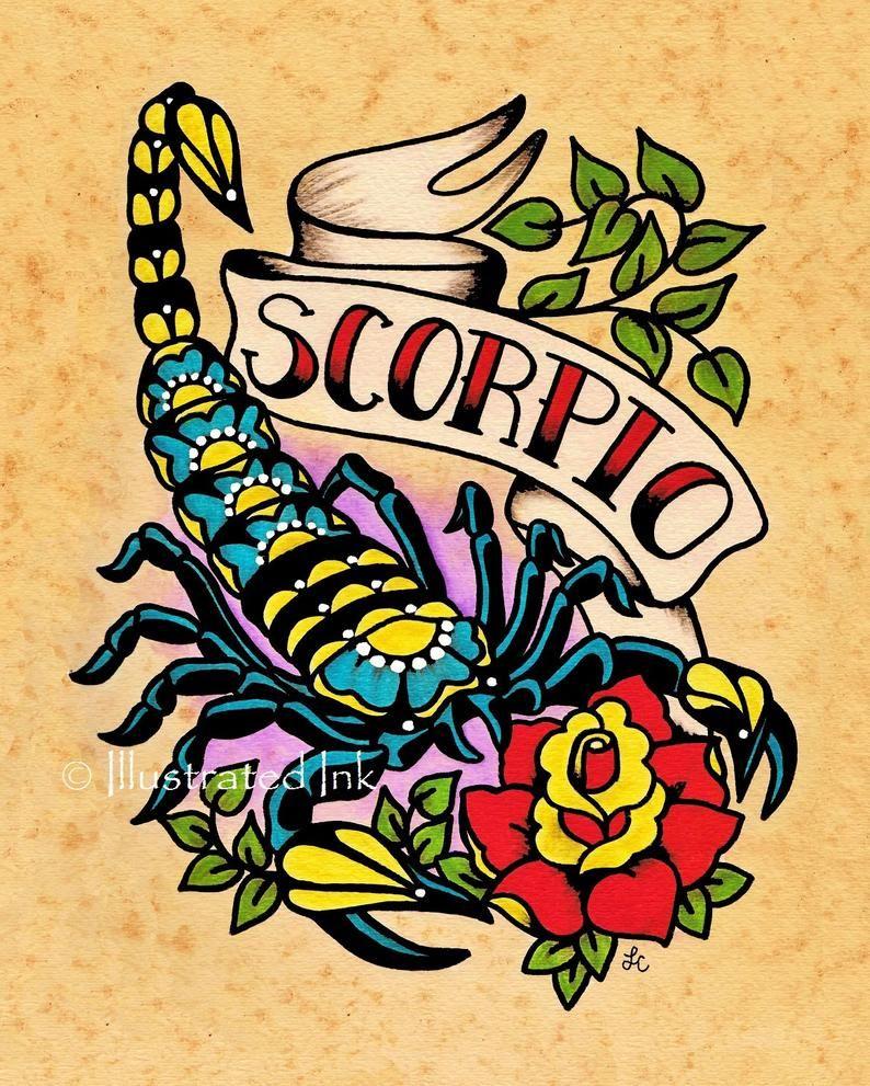Zodiac Old School Tattoo Art SCORPIO Scorpion Astrology