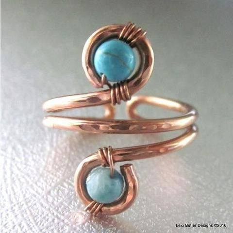 Photo of Wire Wrapped Adjustable Turquoise Beads Copper Wire Bracelet