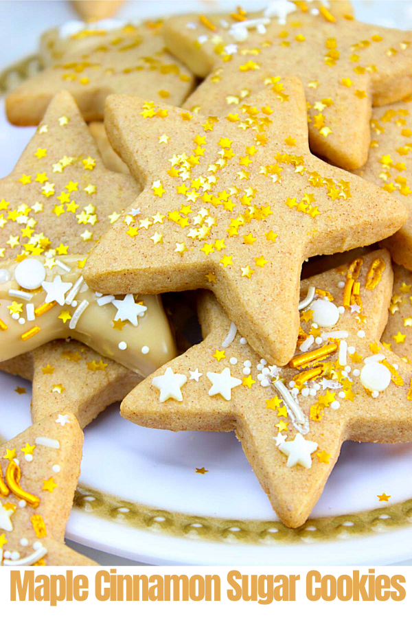 Thick and chewy Cinnamon spiced Star Sugar Cookies topped with golden star sprinkles and dunked in maple icing that sets beautifully! #cinnamonsugarcookies #starcookies #mapleglaze #sugarcookies #easysugarcookies #softsugarcookies #thicksugarcookies #greedyeatsblog #chewycookies