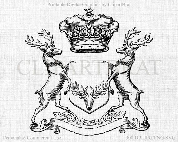 Coat of arms crown. Deer clipart commercial use