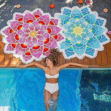 150x150cm Lotus Thin Tassel Summer Beach Towel Tapestry Tablecloth Silk Scarf