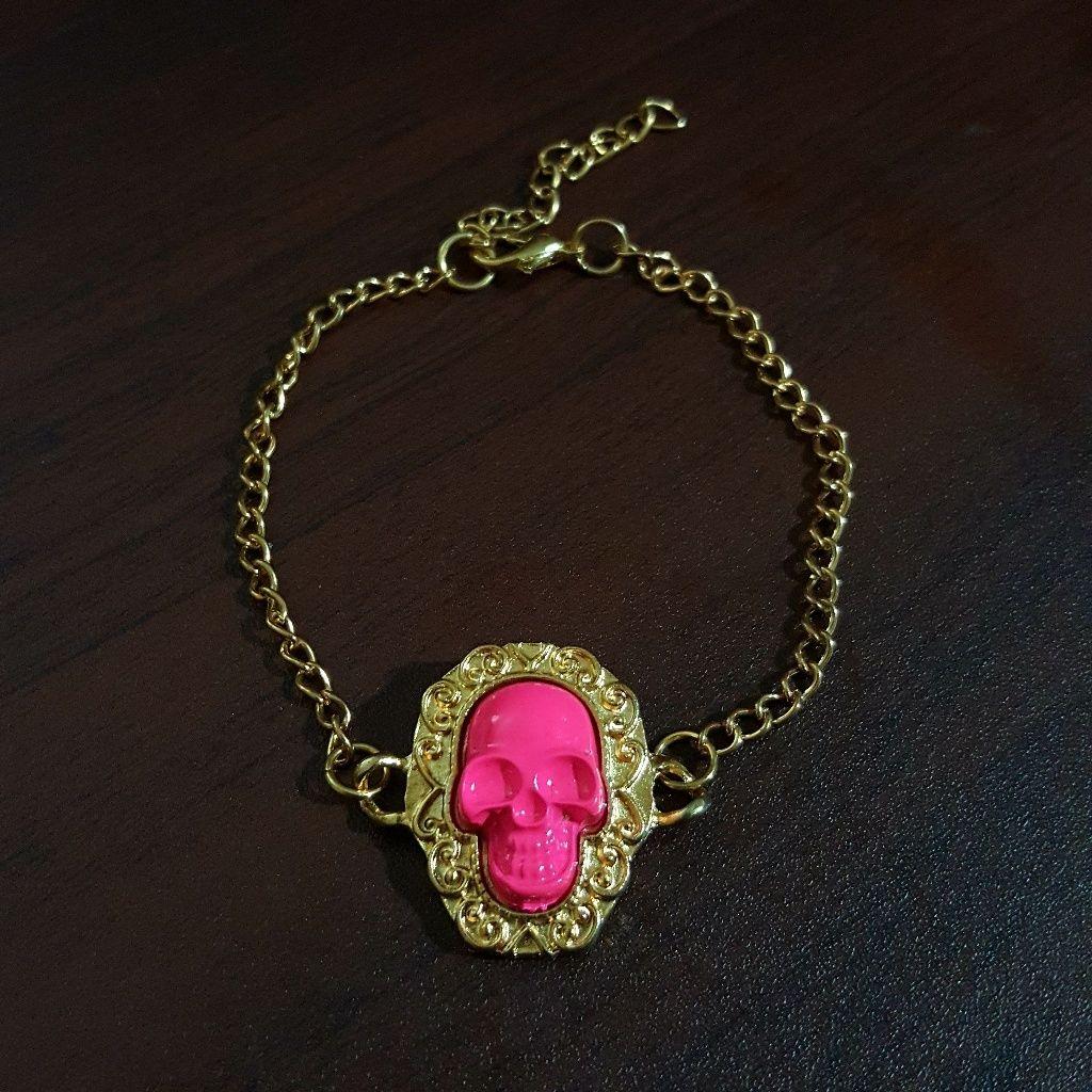 New Neon Pink Skull Bracelet