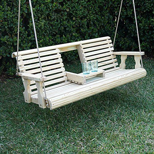 Outsunny 5 Foot Wood Handmade Porch Swing With Hang Chain Porch Swing Backyard Swings Swing