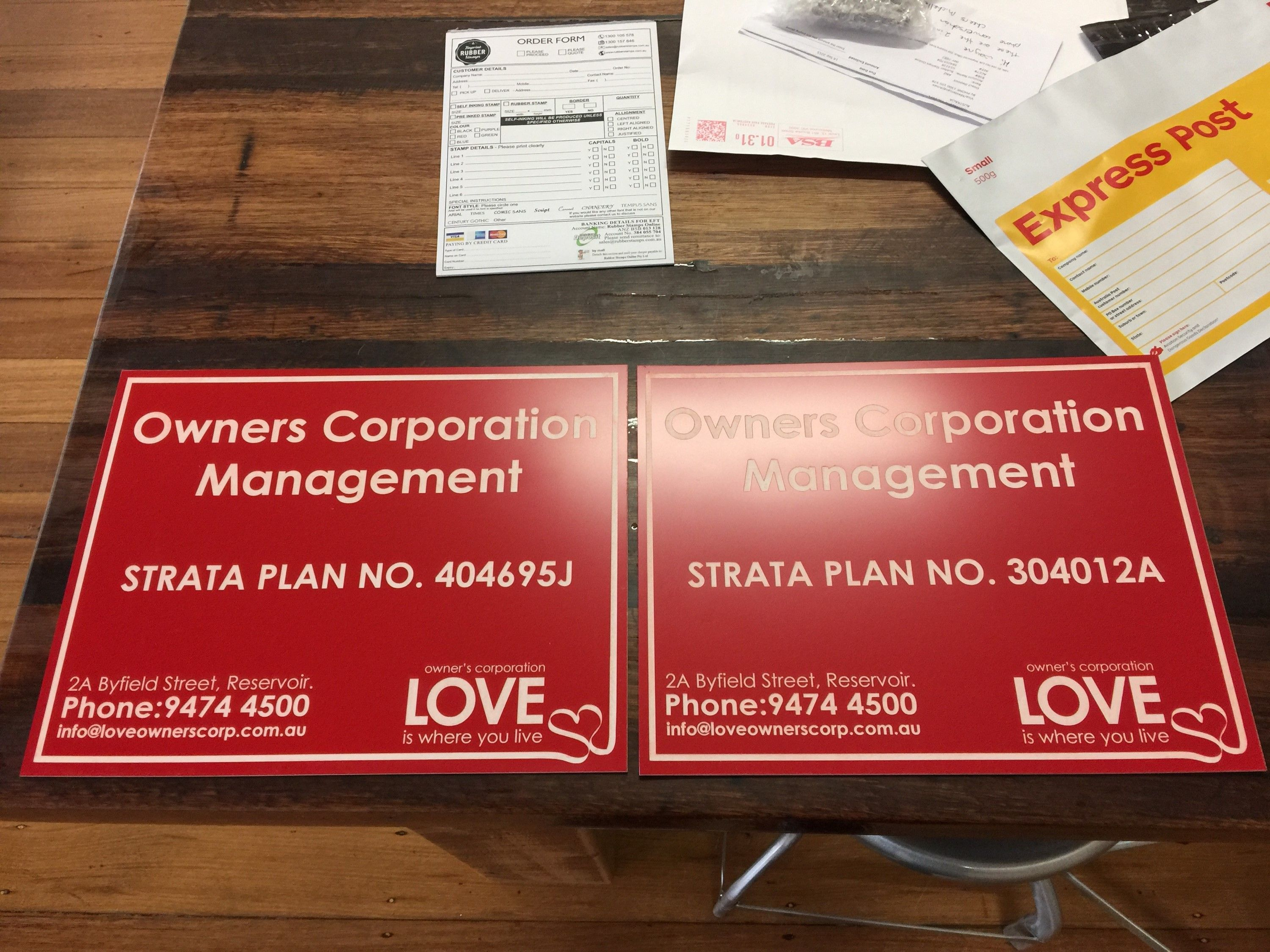 Signs created for Real Estate-Body Corporate