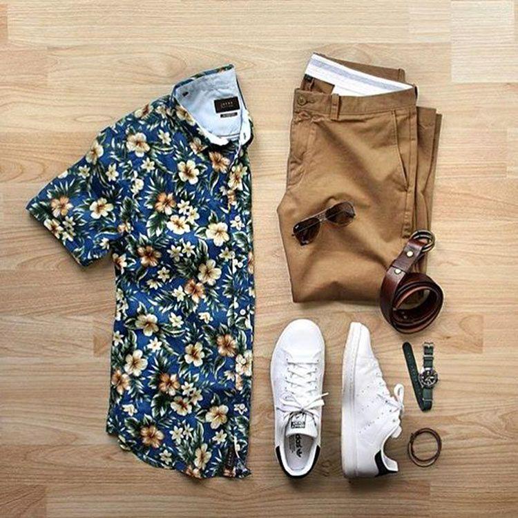 combo-camisa-floral-bermuda-sarja-masculina Look Masculinos 345144e8343