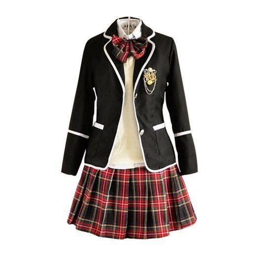 Japanese Japan School Girl Long-Sleeved Uniform Cosplay Costume-Free ship-011