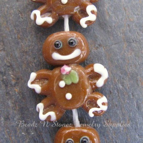 CLEARANCE - Lampwork Glass Brown Gingerbread Man Beads - Half Strand   BeadzNStonezJewelrySupplies - Jewelry Supplies on