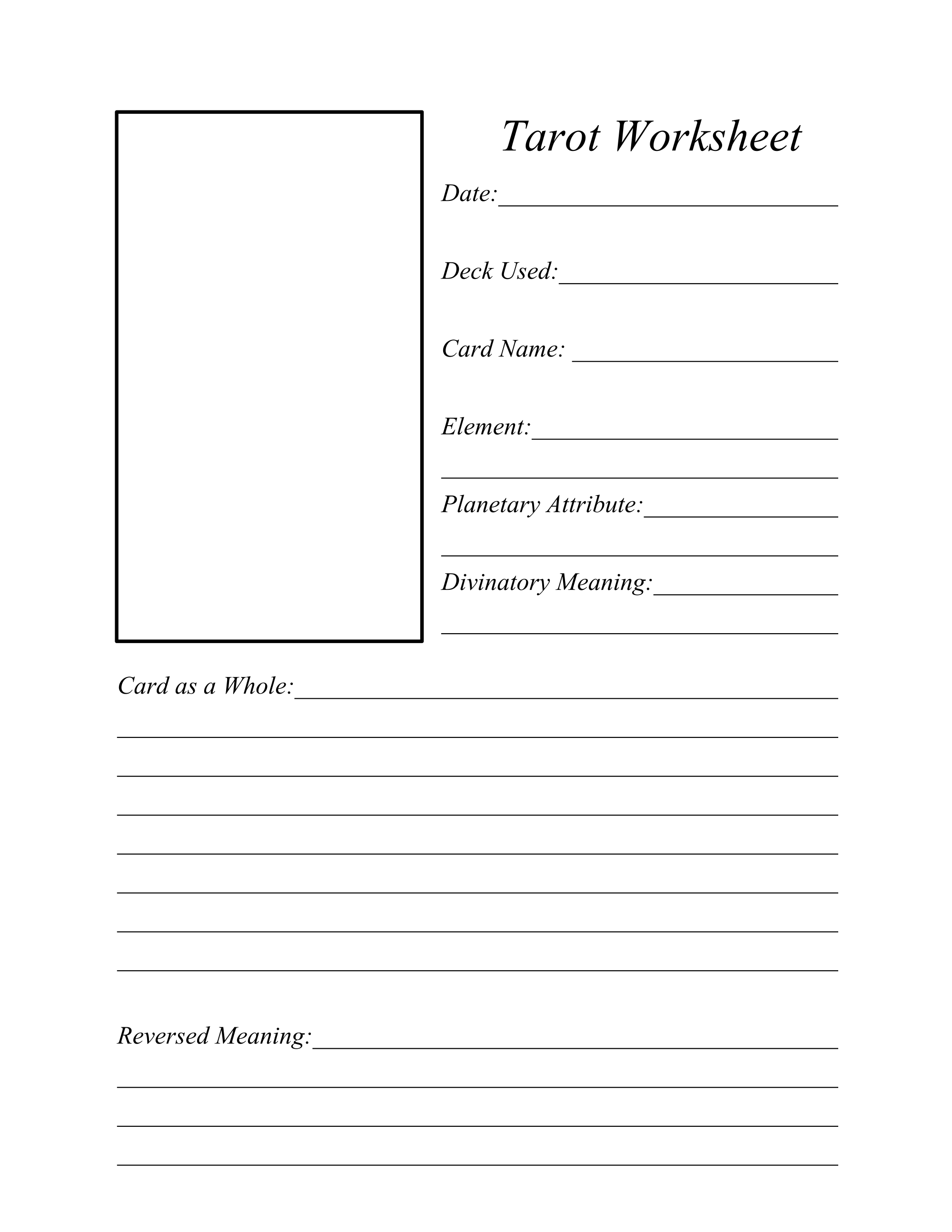 Tarot Card Worksheet Free Printable
