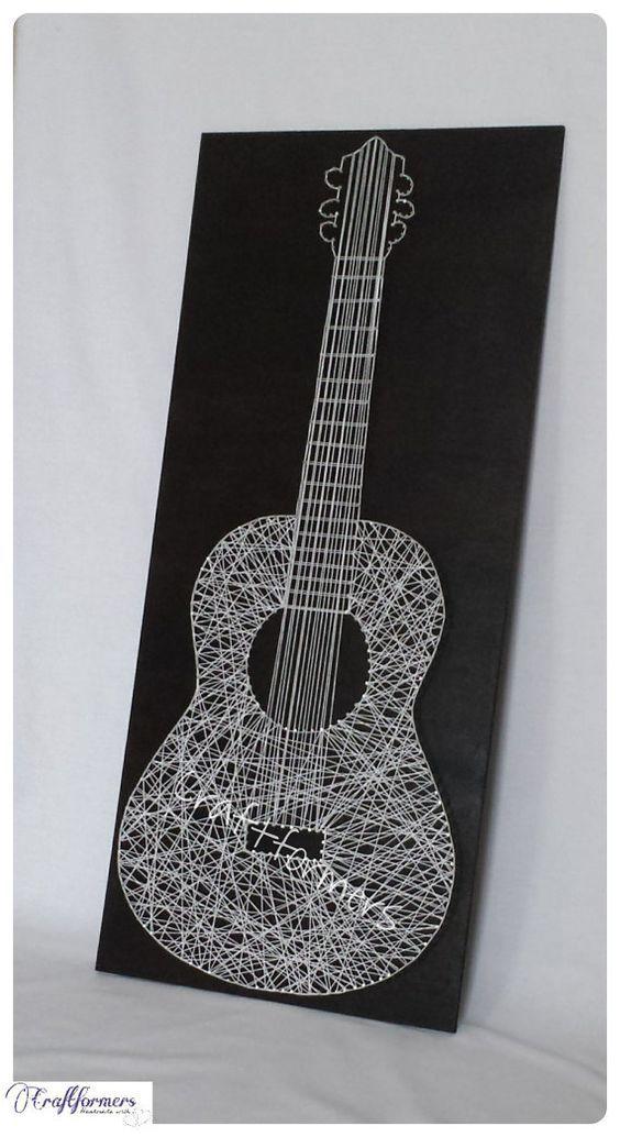 String Art, Music, Guitar, Musical Instrument, Music Gift, Black & White Wooden Plaque, Large String Guitar, Music, Music Fan, Home Decor