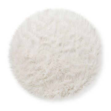 faux fur rug 3u0027 round white pillowfort