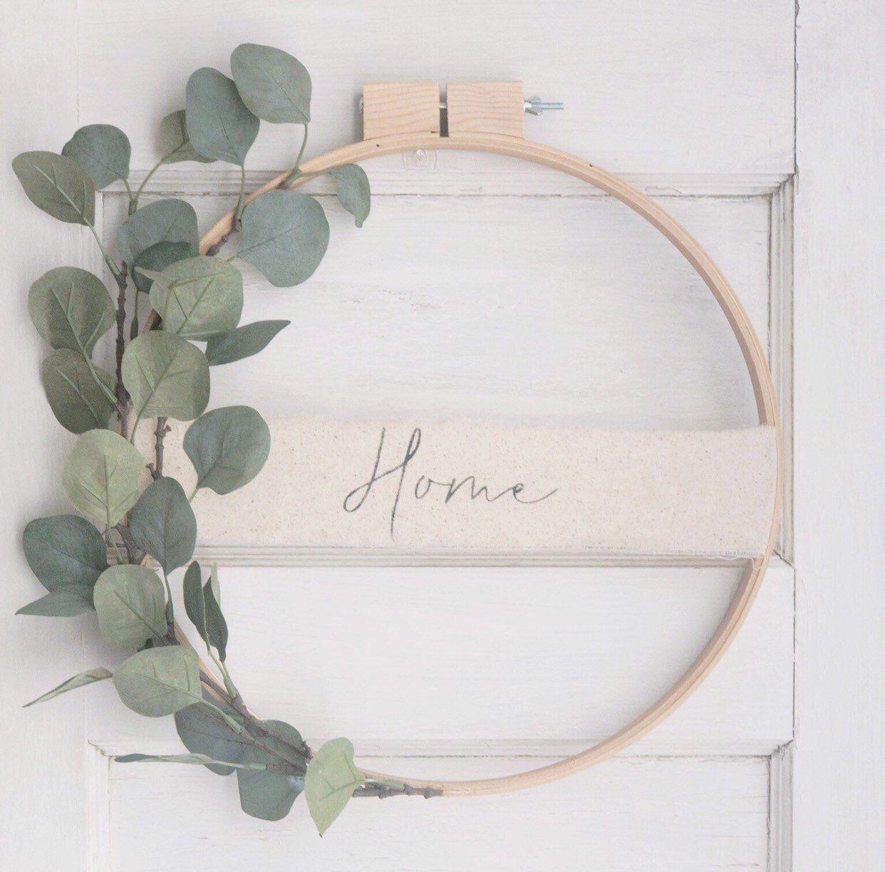 Eucalyptus Embroidery Hoop Wreath// Spring Wreath/