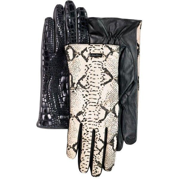 Calvin Klein Gloves, Leather Snake Print Tech Touch $43