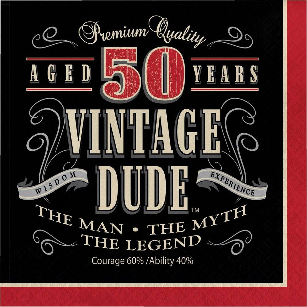 48ct Vintage Dude 50th Birthday Napkins Red 50th Birthday Napkins 50th Birthday Quotes 50th Birthday Wishes