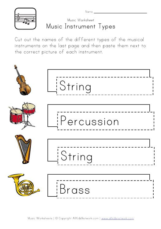 Musical instrument worksheetsthis would tie in with a couple – Instruments of the Orchestra Worksheets