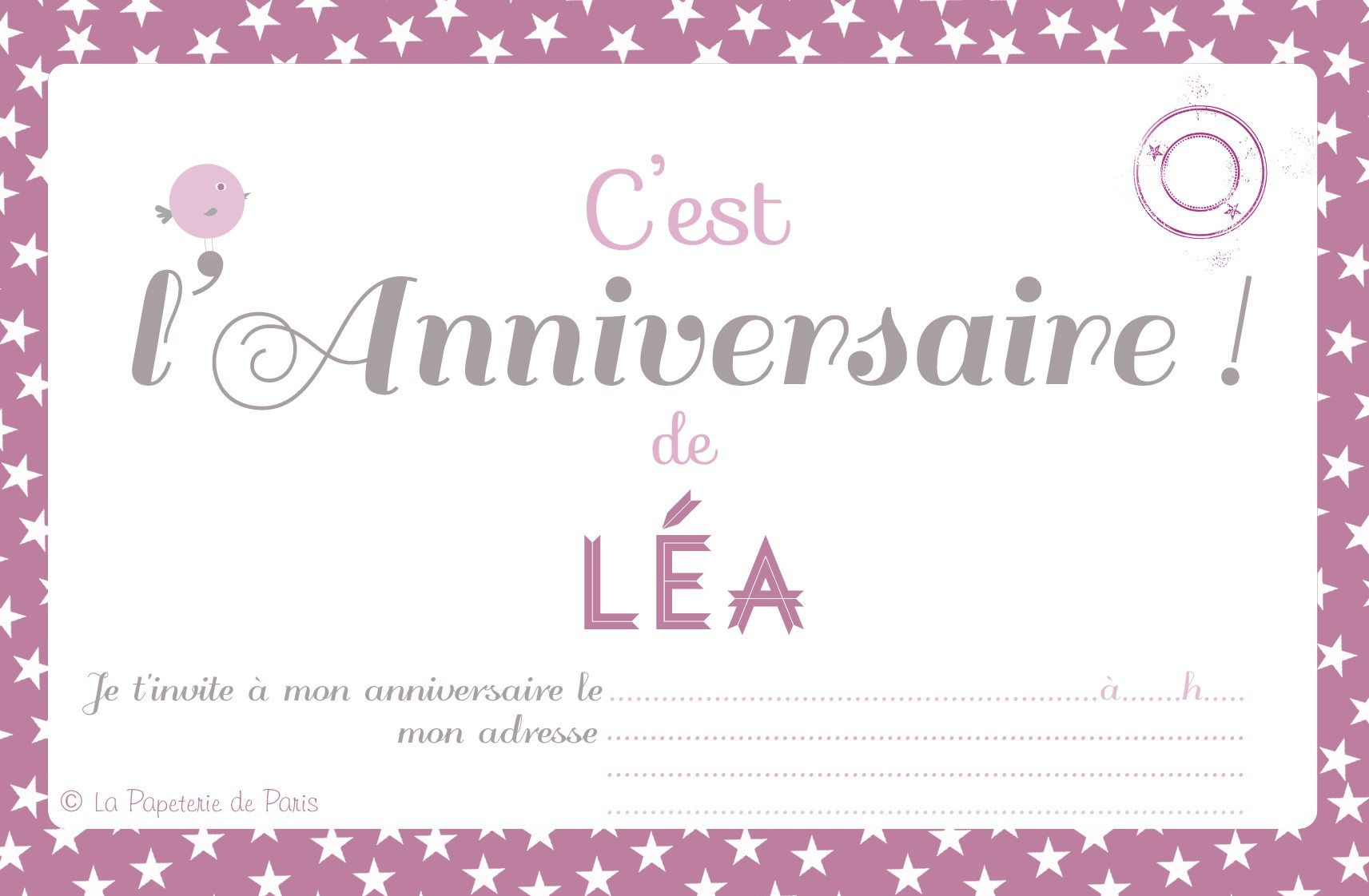 Bekannt carte invitation anniversaire imprimer : Carte invitation  DD57