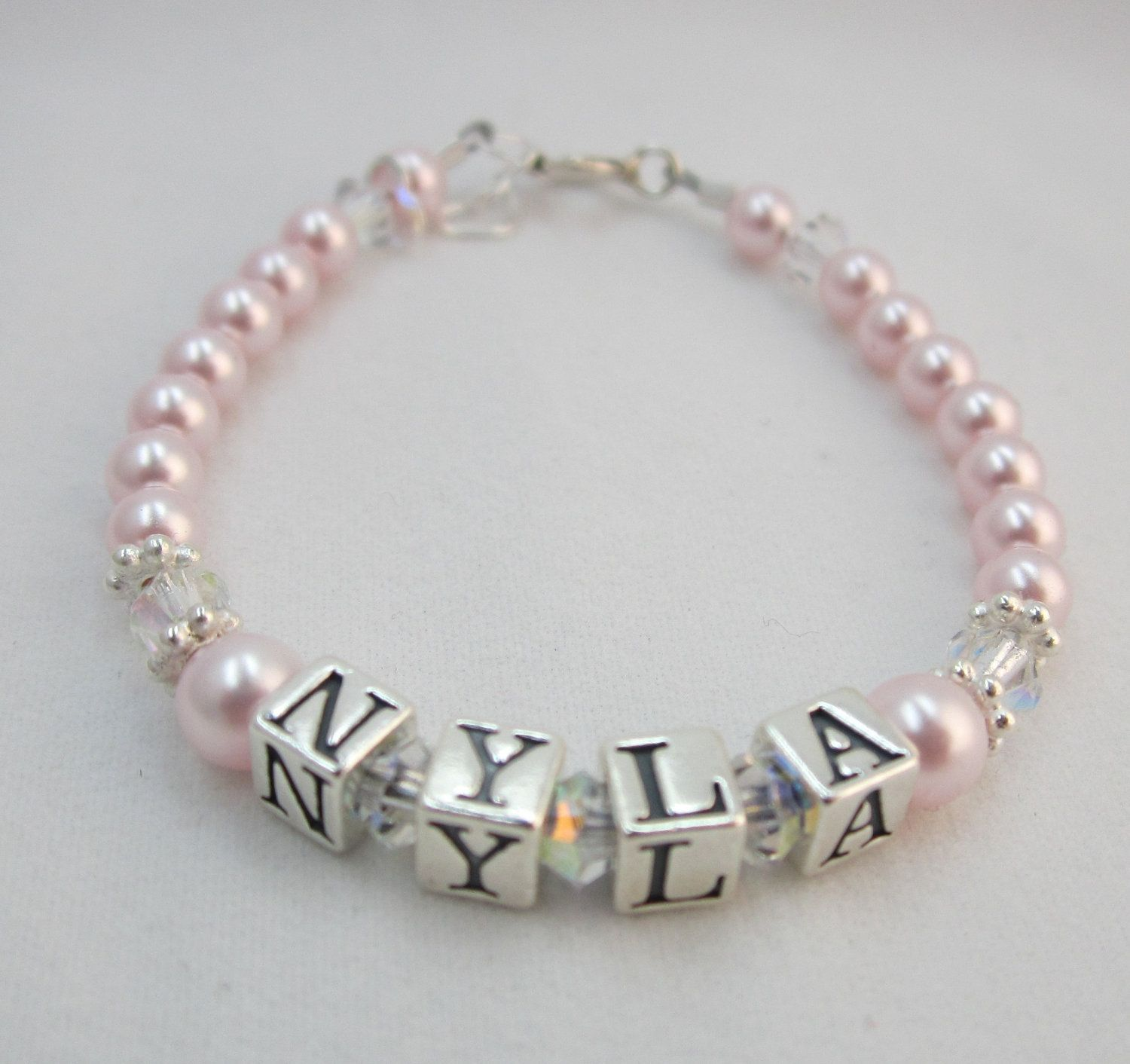 Baby girl name bracelet with the name alex and i adore didnt baby girl gift name bracelet sterling silver first birthday personalized pearls infant jewelry children bpnp negle Image collections