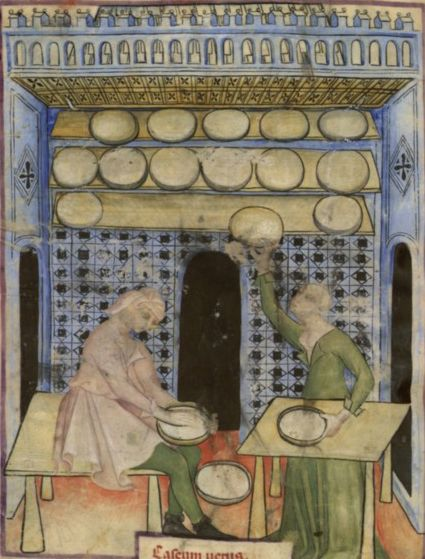 Making Cheese-from The Tacuinum Sanitas , Late 14th century