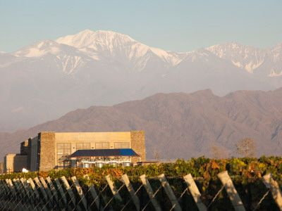 Winery in a Field with Mountains in the Background, Andes, Bodega Septima, Lujan De Cuyo
