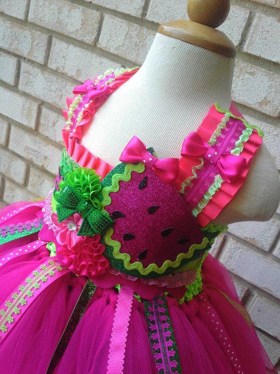 summer birthday party ideas  Watermelon tutu dress Watermelon Pageant dress by GlitterMeBaby, $65.00