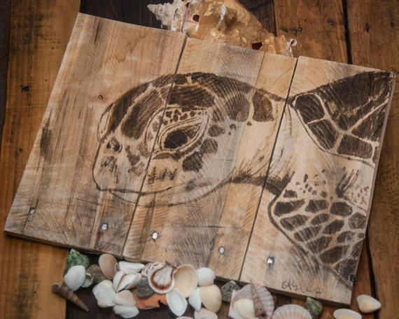 Sea Turtle Art Pallet Wood Rustic Beach Decor Lake House Coastal Living Style