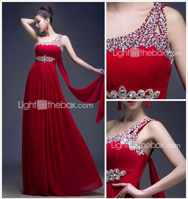 Formal Evening Dress - Burgundy A-line One Shoulder Floor-length Georgette 2015 – $56.99
