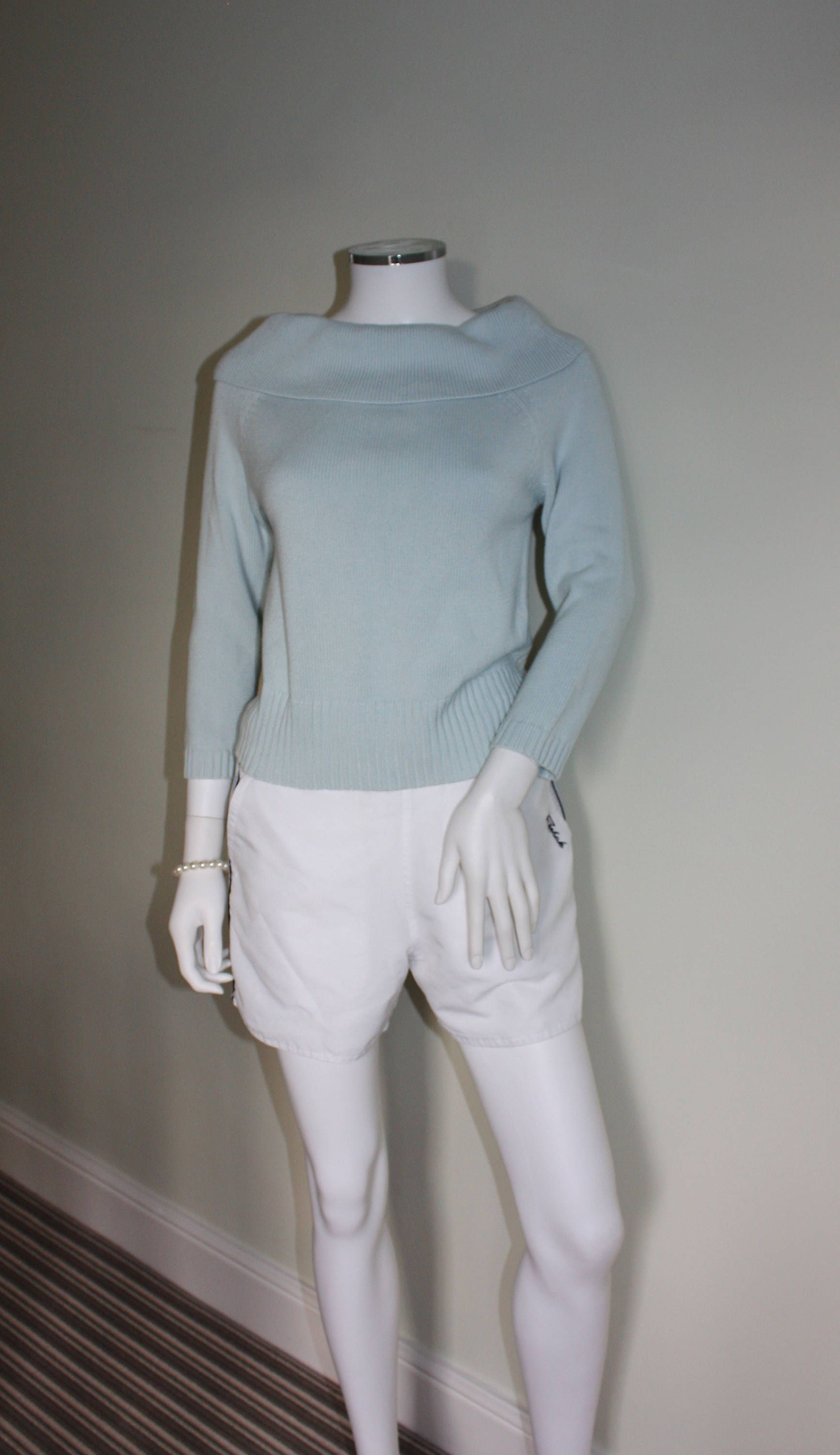 5cade4f5d Vintage PASTEL BLUE boat neck sweater / jumper / pullover, SMALL ...