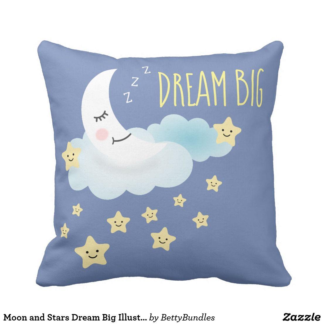 Moon and stars dream big illustration throw pillow