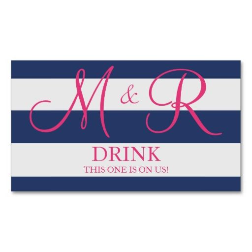 navy blue and pink monogram wedding drink ticket card templates