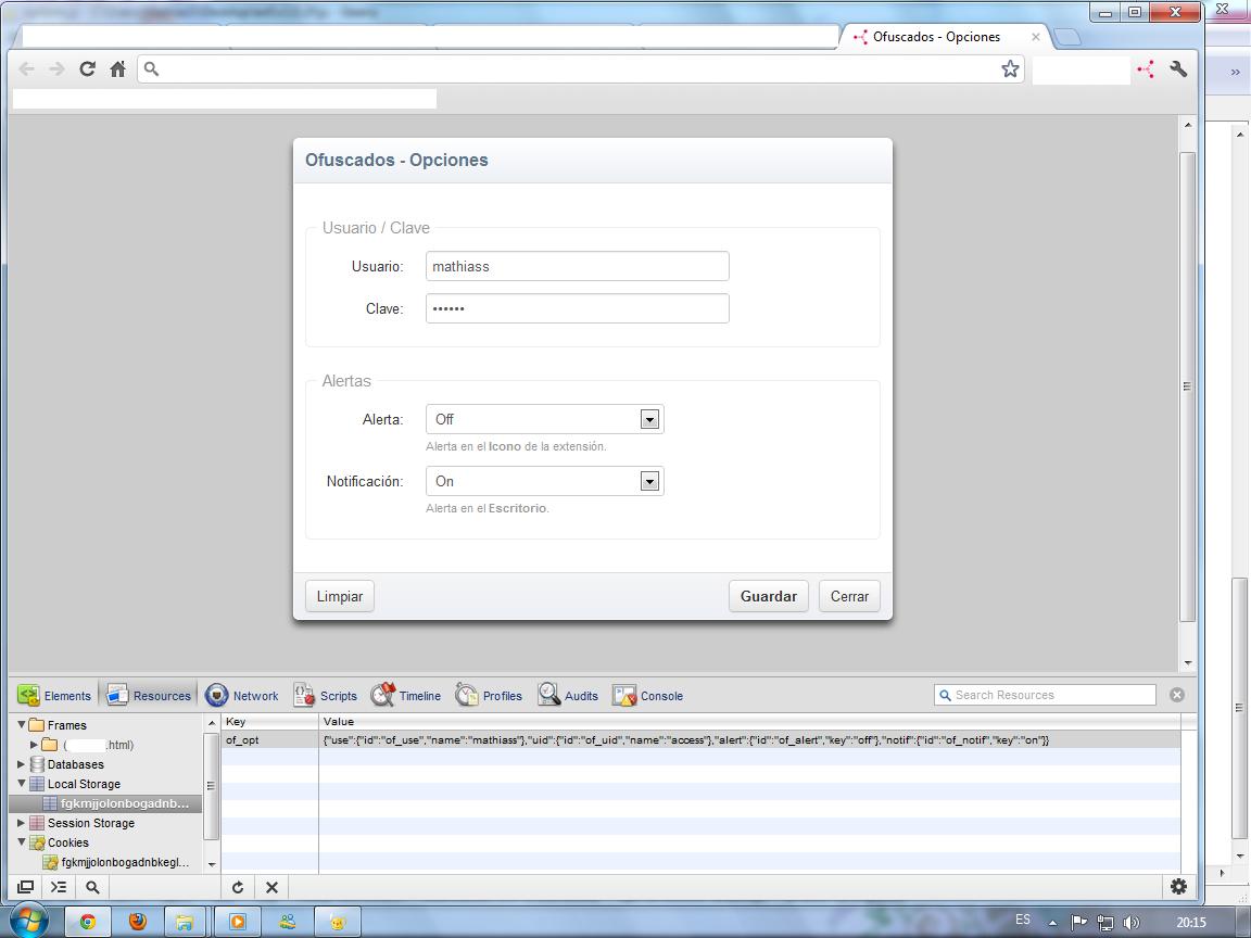 Opciones de la extensión, probando Local Storage; versión 1.0.2r