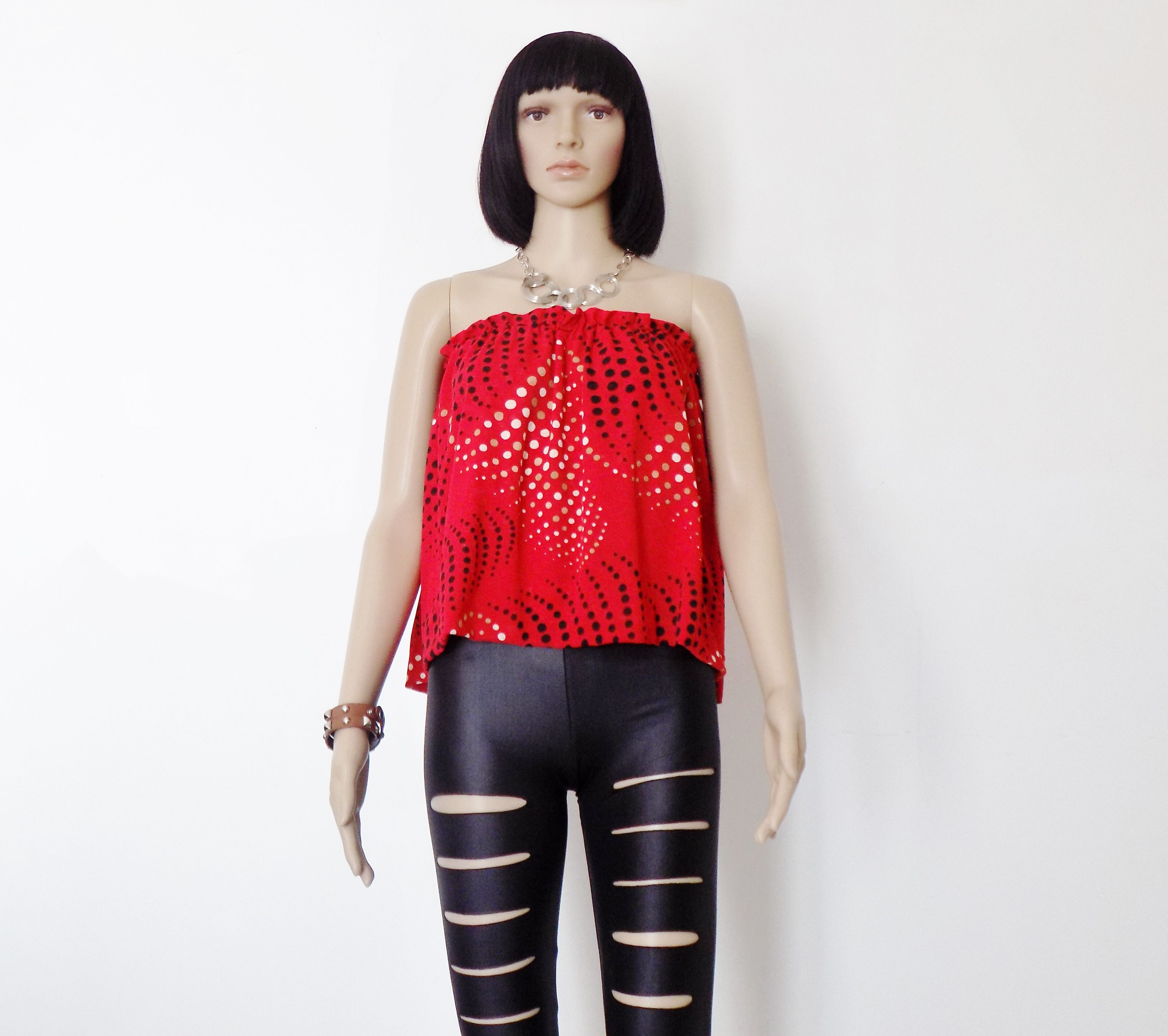 Originale Top, Jupe !! RED WAVE !! EN Jersey rouge Taille 38/40 BELICIOUS-DELICIOUS CREATION