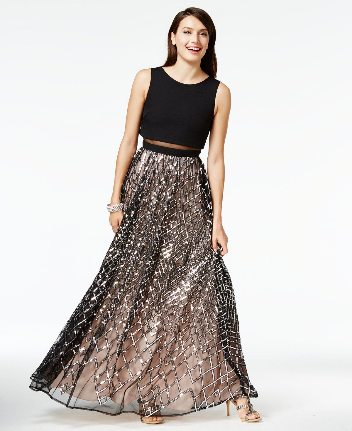 Say Yes To The Prom Juniors Sequined Illusion Popover Gown A