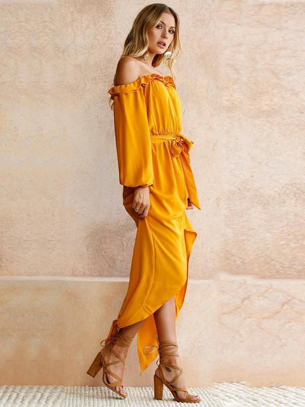 6e514774901b Yellow Long Sleeve Off-the-shoulder Split-side Maxi Dress