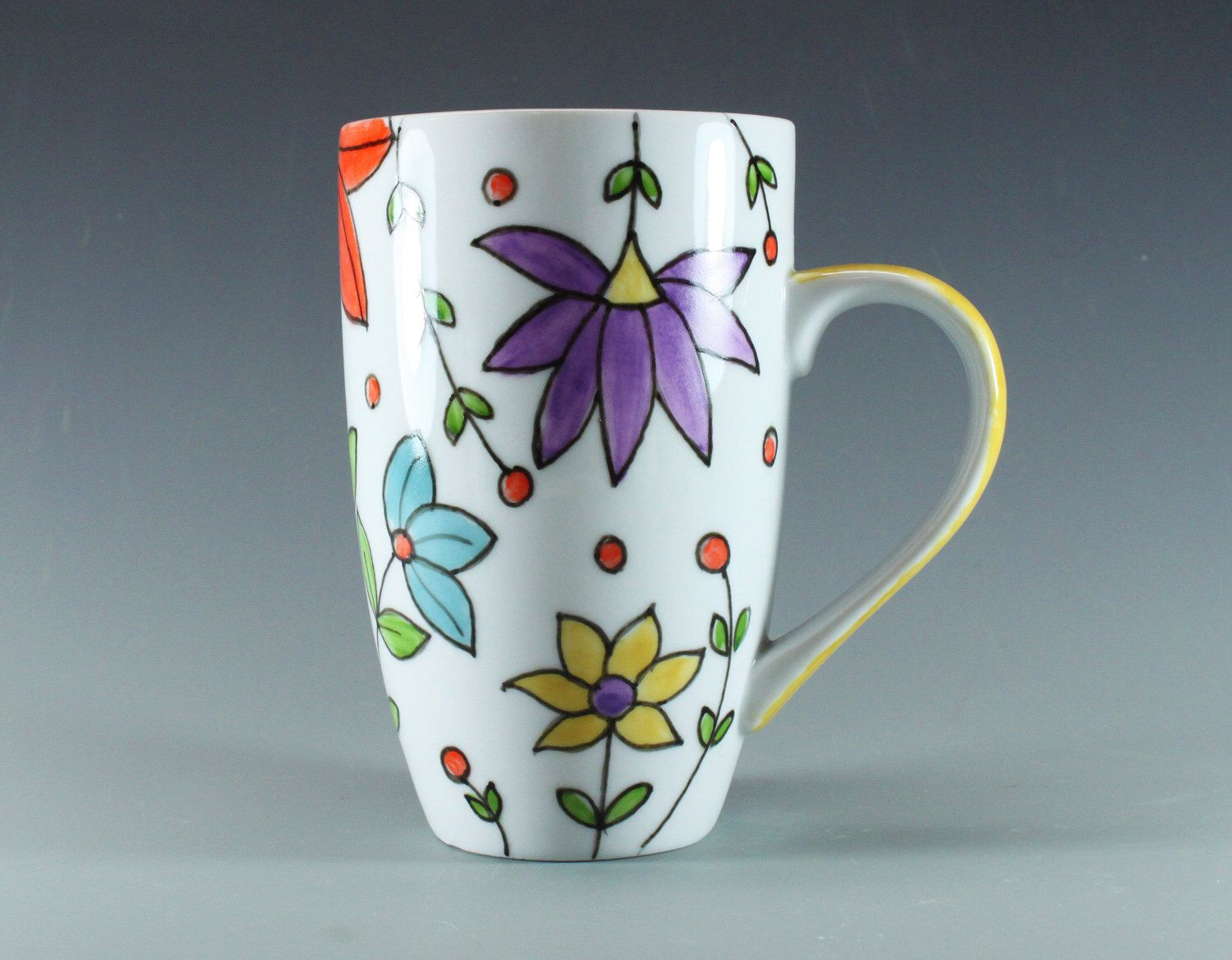 Handmade Pottery Mug, Spring Flowers, Hand painted, China Latte Mug, Ceramic Coffe Mug, Yellow Handle, SKU1412-1 by ateliermarla on Etsy https://www.etsy.com/listing/214146570/handmade-pottery-mug-spring-flowers-hand