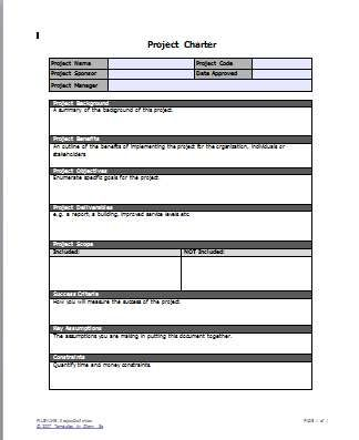 Project Charter Template OQxtcln  Pmp    Project