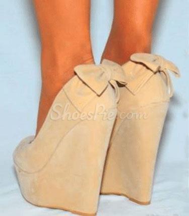 Fashionable Camel Suede Wedge Heel Shoes with Amazing Rhinestone Decoration