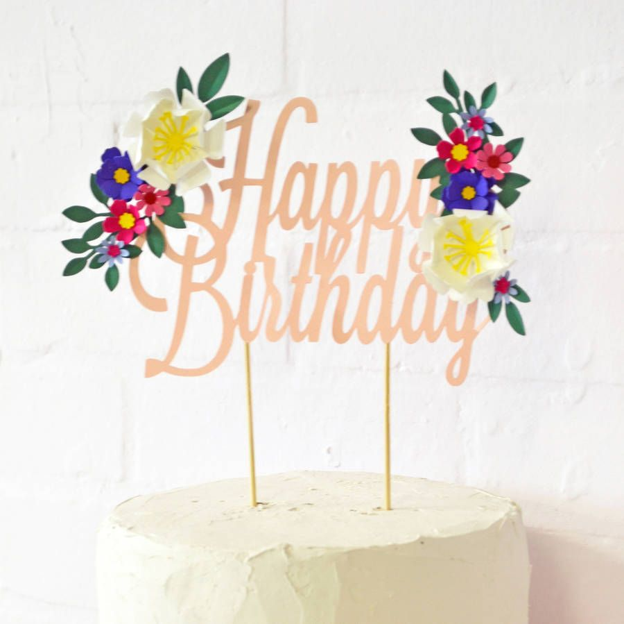 Handmade Happy Birthday Paper Flower Cake Topper Cake Toppers