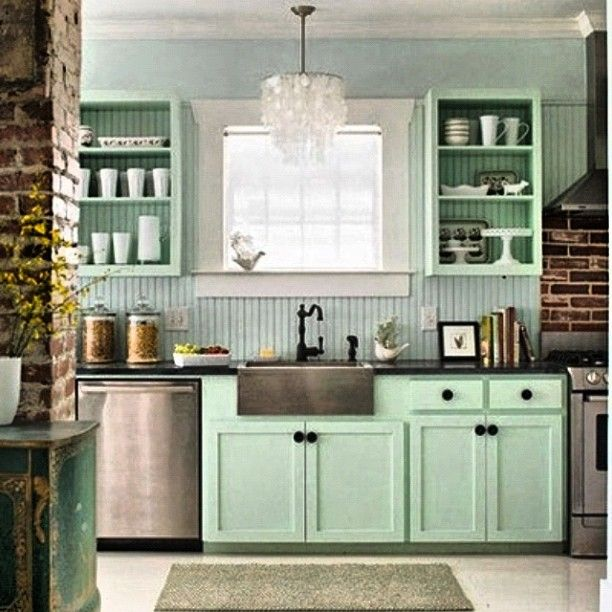 Unembellishedthought: Loving The Mint Green Cabinets!