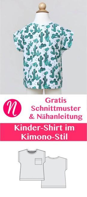 Kindershirt im Kimono-Stil - Freebook | Nähen | Pinterest | Hand ...
