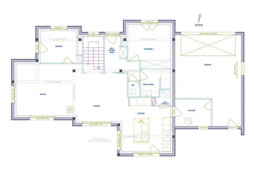 Plan du RDC maison Pinterest - plan maison etage m